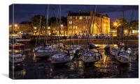 Scottish harbour at night, Canvas Print