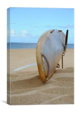 Surfboard Basking on the Sand, Canvas Print