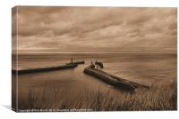 'Whitby Harbour at Dusk', Canvas Print