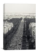 Champs Elysees from Arc de Triomphe, Canvas Print