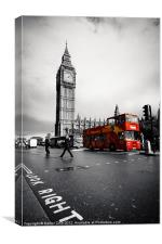 London Big Ben with red bus, Canvas Print