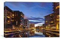 Clarence Dock at night, Canvas Print