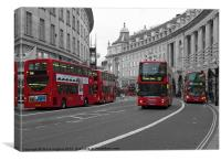 5 red London Buses isolated red colour, Canvas Print