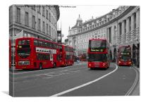 London Scene red buses, Canvas Print