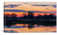 Sunset on the river Wey, Canvas Print