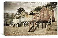Vintage Beach Huts. , Canvas Print