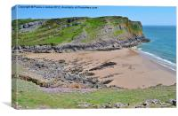 Mewslade Bay, Canvas Print