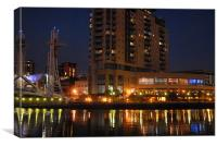 salford quays and lowry centre at dusk, Canvas Print