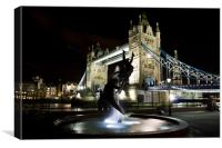 Girl and Dolphin Statue London, Canvas Print