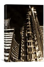 Lloyds Building London In Gold, Canvas Print