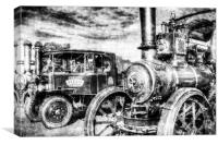 Traction Engine and Steam Lorry Vintage, Canvas Print