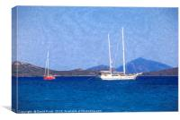 Aegean Sea Ships Art, Canvas Print