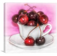 a cup of cherries, Canvas Print