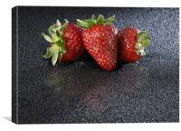 Strawberies over black, Canvas Print