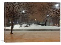 snow scene canning town, Canvas Print