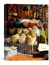 Spice market stall in Morocco, Canvas Print