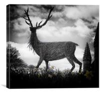 Deer and Daffodils, Canvas Print