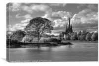 Stowe Pool and Lichfield Cathedral - Mono, Canvas Print