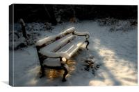 Bench in the Snow, Canvas Print