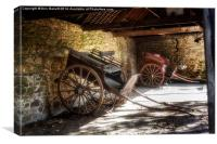 Old Barn and Horse Carriages, Canvas Print
