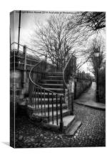 Steps up to the Old City Wall in Chester, Canvas Print