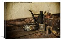 Oil Cans on the Workbench, Canvas Print