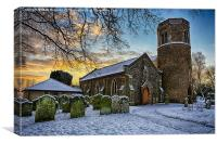 St Marys in the snow, Canvas Print