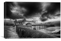 A storm brewing over Cromer Pier in monocrome, Canvas Print