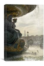 Fountain view of Eiffel Tower, Canvas Print