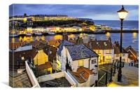 Dusk Over Whitby Town, Canvas Print