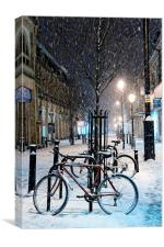 Cycles in the Snow, Canvas Print