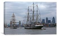 Tall Ships on the River Thames, Canvas Print