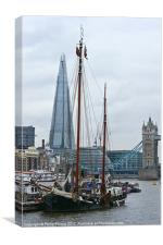 Boats and the Shard, Canvas Print