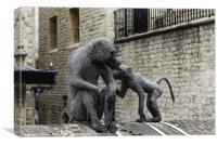 Monkeys at Tower of London, Canvas Print