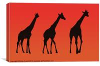 Giraffes Silhoutte at Sunrise, Canvas Print