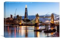 Tower Bridge and the Shard At Night, Canvas Print