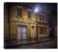 Old London Street in the rain at night, Canvas Print