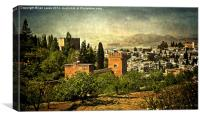 Granada From The Alhambra Gardens, Canvas Print