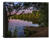 A  Lakeside Evening, Canvas Print