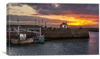 Maryport Harbour At Sunset, Canvas Print