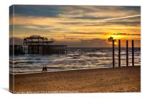 Sunset Over The West Pier, Canvas Print