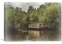 College Barge Near Iffley, Canvas Print
