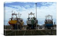 Fishing Boats In Dry Dock, Canvas Print