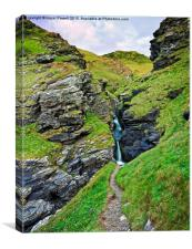 Rocky Valley Waterfall, Tintagel, Canvas Print