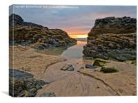 Sunset at Gwithian Beach, Cornwall, Canvas Print