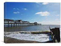 Southwold Pier and Groyne, Canvas Print