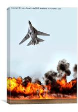F111 with Fire, Canvas Print