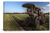 Showmans engine on the fields, Canvas Print