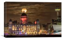 Port of Liverpool building supermoon, Canvas Print