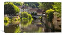 The lazy, hazy Dronne. Dordogne, Canvas Print